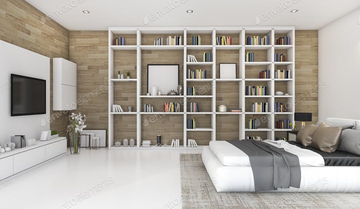 3d rendering contemporary wood bedroom with built in bookshelf