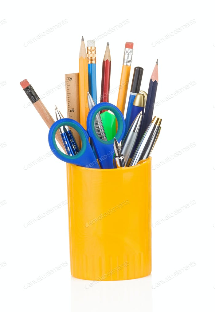 holder full of pen and pencil