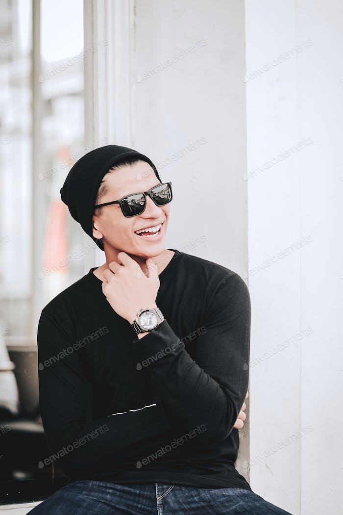 Asian Man Laughing
