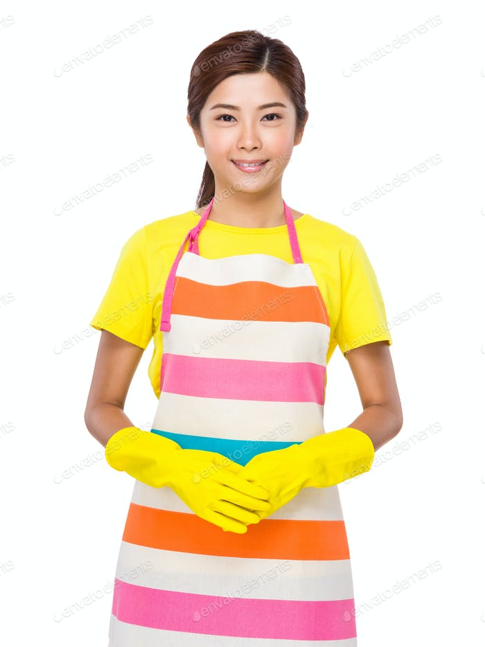 Asian housewife with plastic gloves