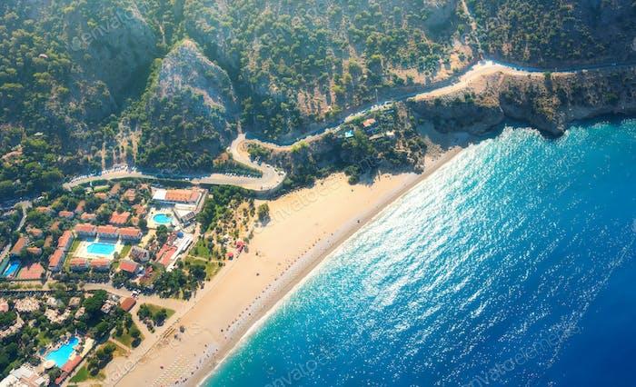 Aerial view of sandy beach in Oludeniz, Turkey. Summer landscape