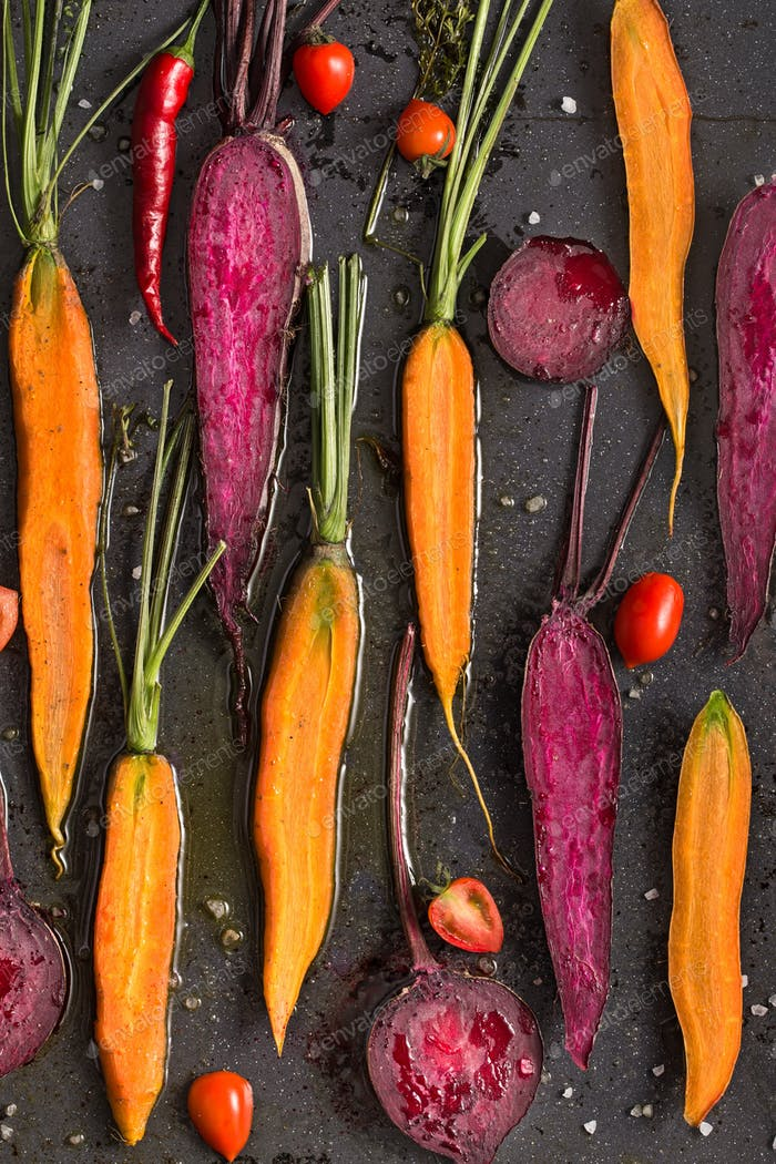 Roasted carrot and beetroot