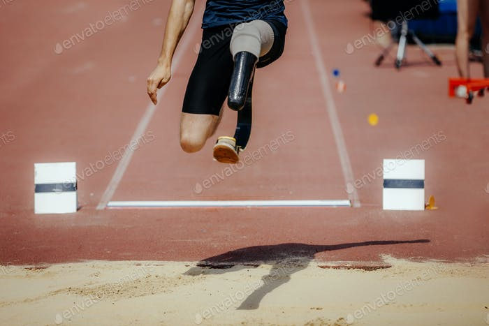 athlete jumper with limb loss leg