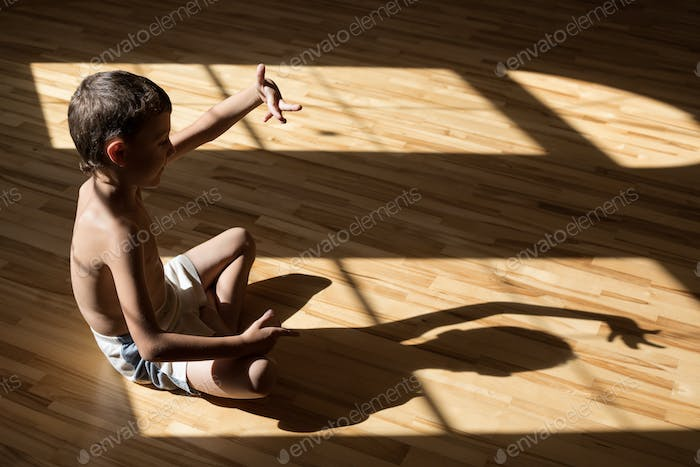 Charming little boy  playing  in theatre of shadows