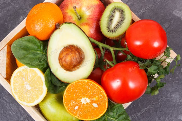 Fresh nutritious fruits and vegetables. Healthy lifestyles, nutrition, slimming and dieting concept