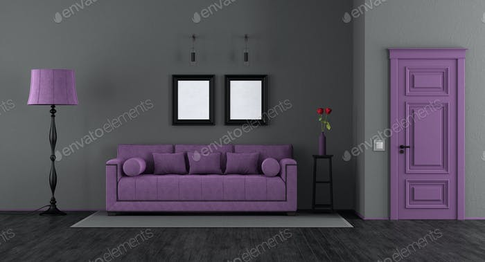 Elegant black and purple living room