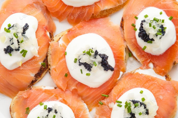 salmon canapes with traditional Russian caviar