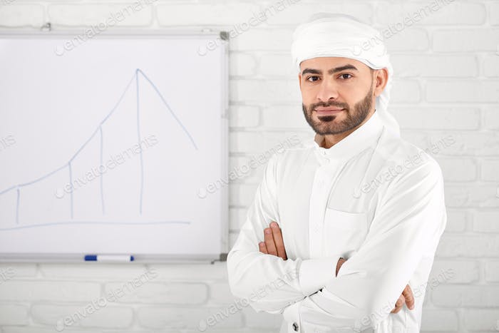 Handsome young muslim male in traditional Islamic clothing standing in front of financial chart