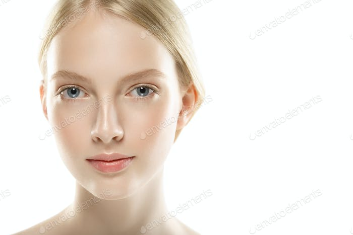 Beauty Woman face Portrait close up. Beautiful model Girl with Perfect Fresh Clean Skin.