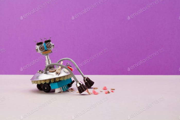 Robotic automation vacuum cleaner machine on purple background