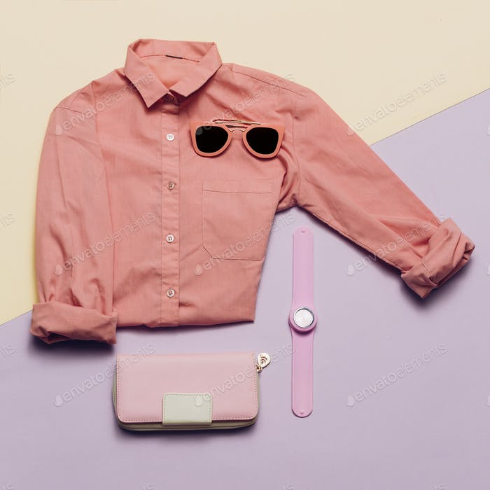 Ladies Fashion Clothes and Accessories. Purse, watches, sunglass