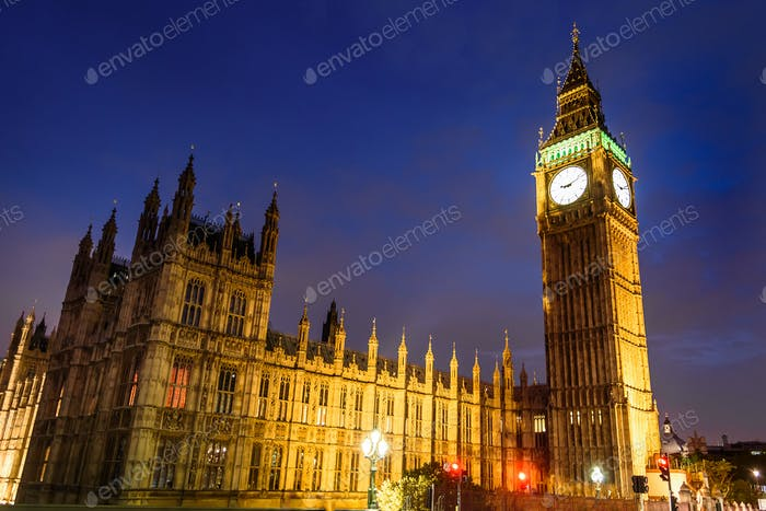 Big Ben Clock Tower und House of Parliament in the night, London, Großbritannien
