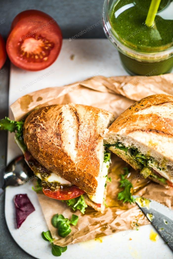 tomato, mozarella and pesto sandwich