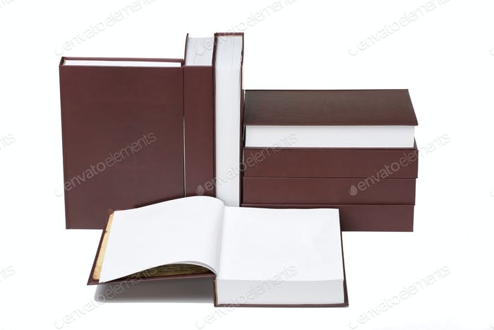 Set of books. Located in a white background.