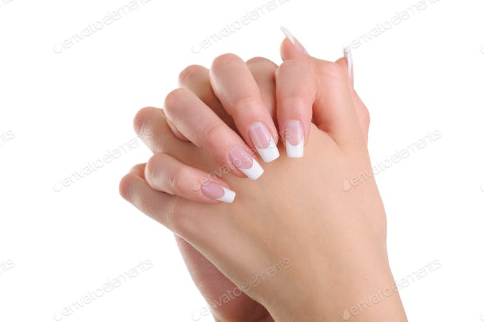 Women hands  with beauty french manicure