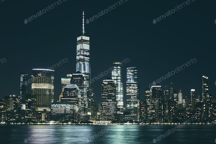 Manhattan panorama at night, NYC.