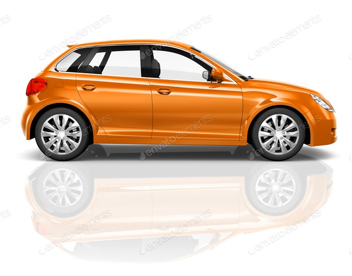 Studio Photo Of An Orange Sedan In A White Background