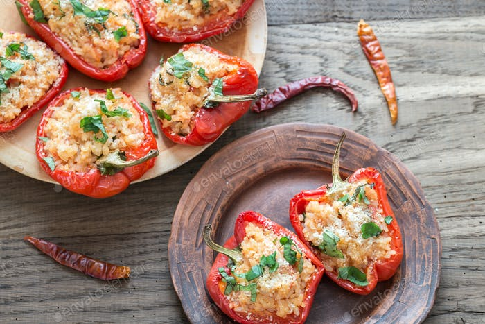 Stuffed red bell peppers with white rice and cheese