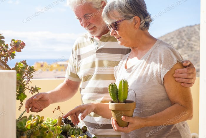 Elderly lifestyle for beautiful mature couple enjoy together gardening activity at home