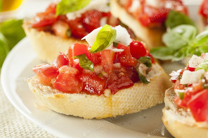 Homemade Tomato and Basil Bruschetta