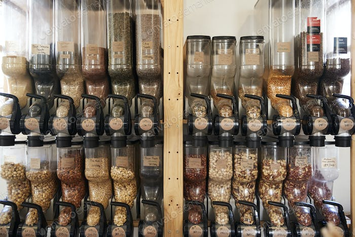 Dispensers For Nuts In Sustainable Plastic Free Grocery Store