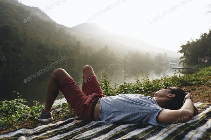 White man enjoying the nature