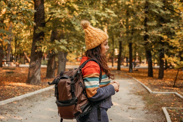 Fall Travel, Autumn trip, getaway, Vacations, solo travel. Plus size girl with backpack in the