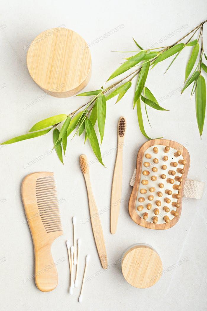Bamboo toiletries. Ethical, sustainable,zero waste, no plastic lifestyle idea
