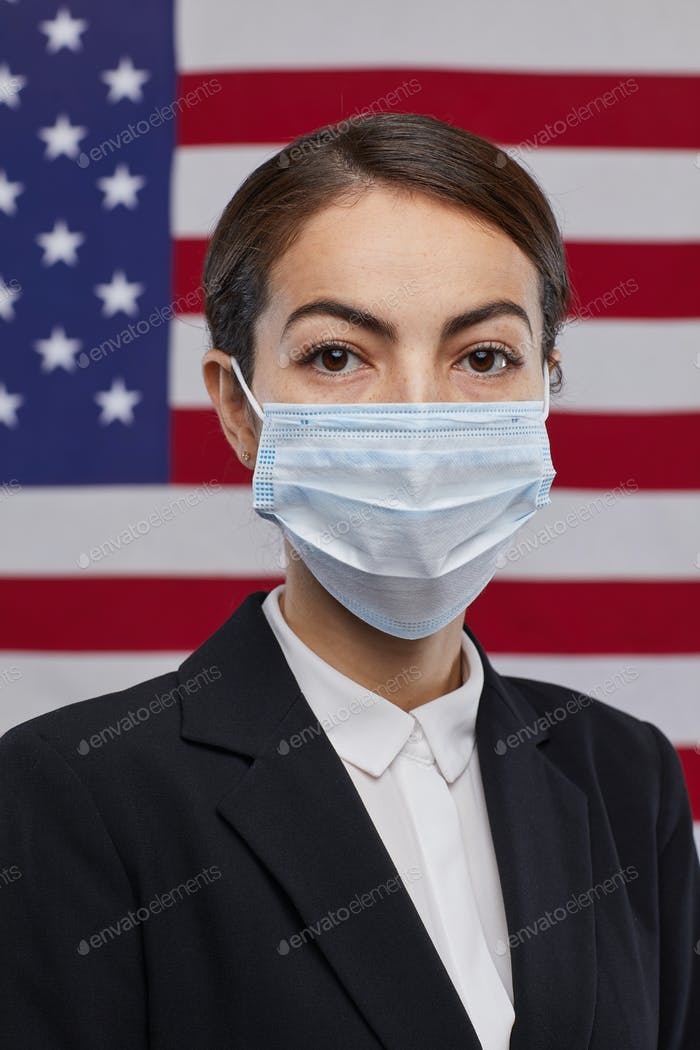 Successful Woman Wearing Mask against American Flag