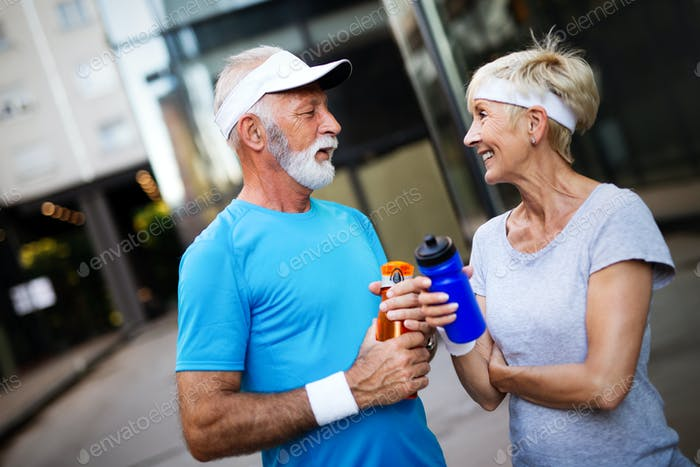 Active senior couple engaging in healthy sports activies
