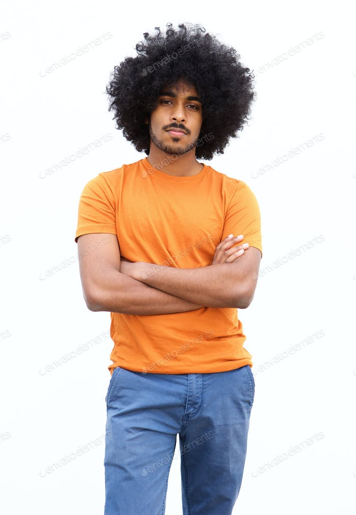 Portrait of a cool black guy with afro