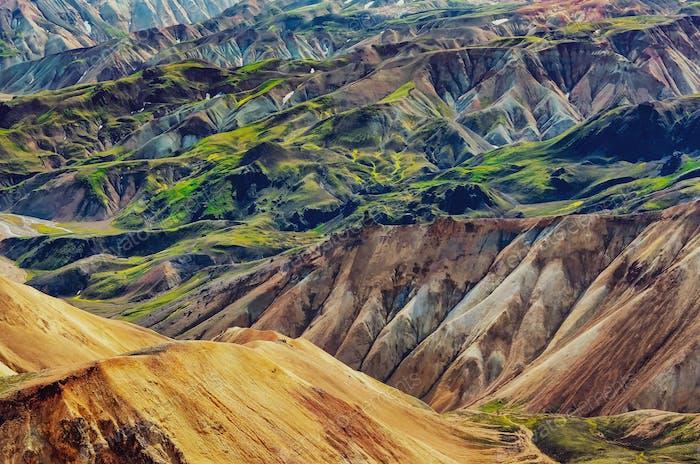 Landscape detail view of Landmannalaugar colorful volcanic mountains