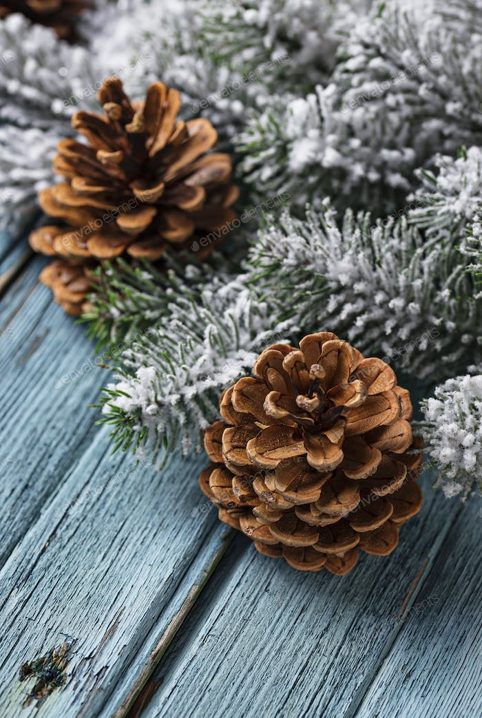 Christmas or New year festive background with pine cones