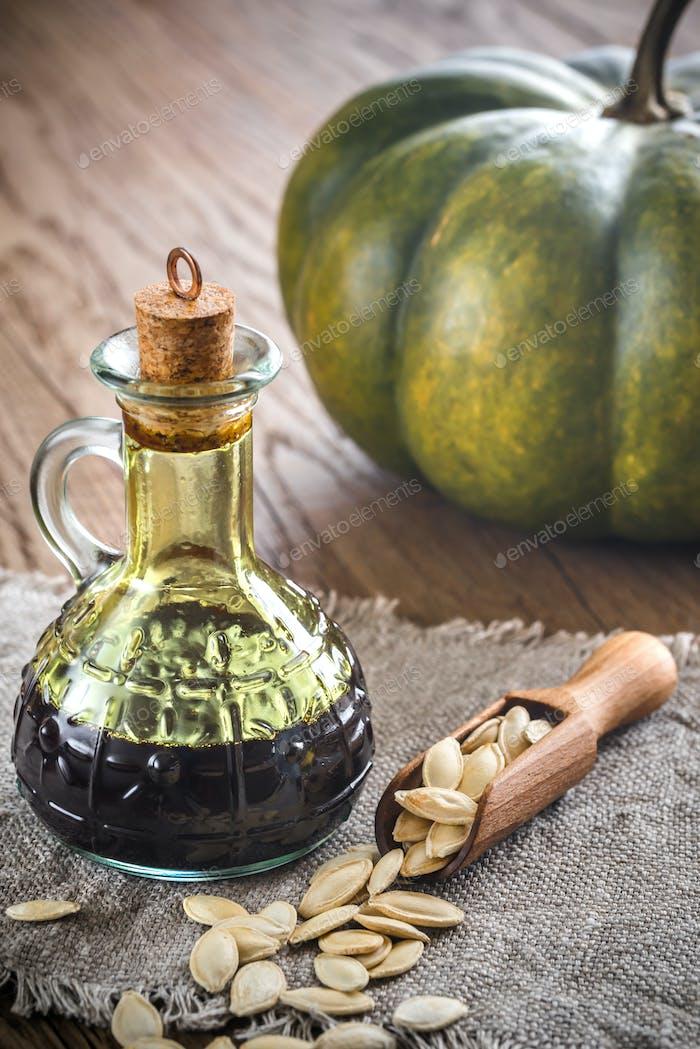 Bottle with pumpkin oil