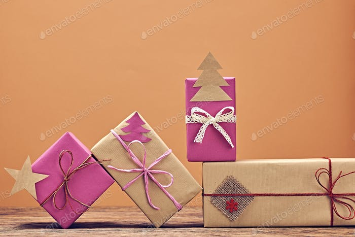 Gift boxes handcraft stack, Christmas decorations