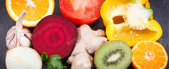 Fresh ripe fruits and vegetables. Source vitamins, minerals and dietary fiber