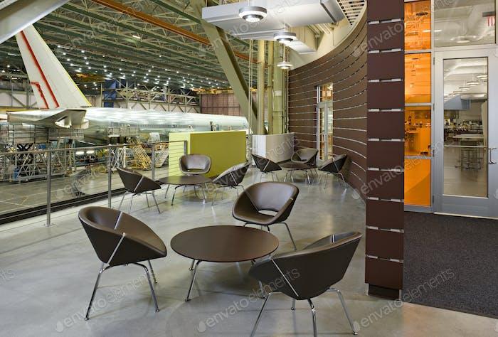 53731,Lounge area in airplane hangar