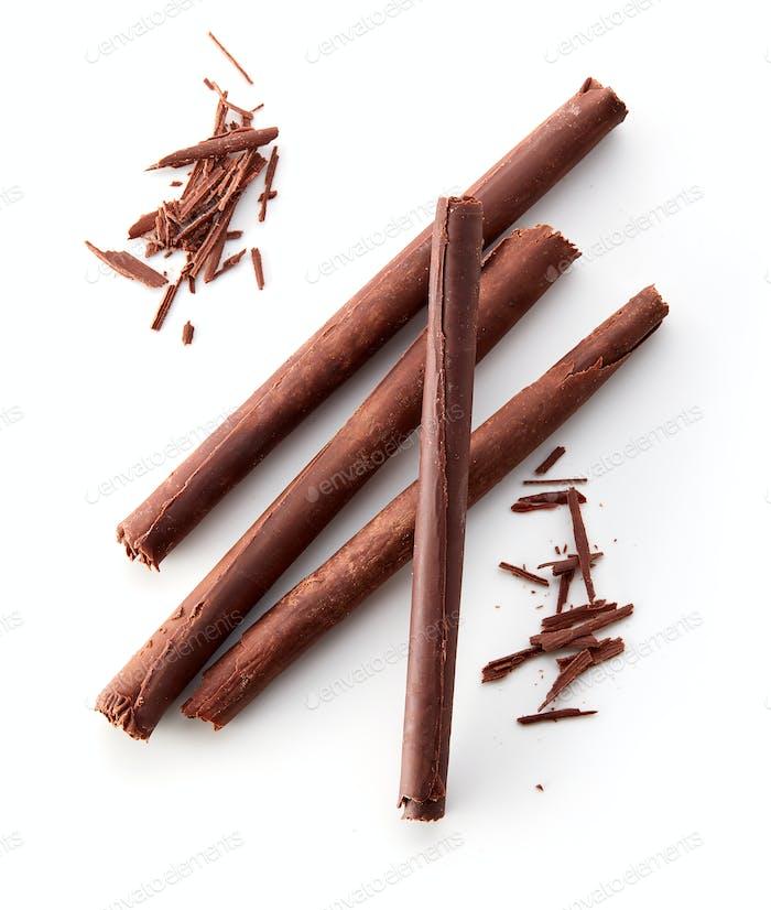 chocolate sticks on white background