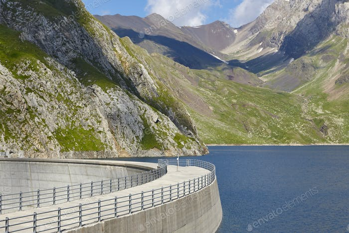 Llauset dam in Aragon. Hydroelectric energy power. Trekking route. Spain