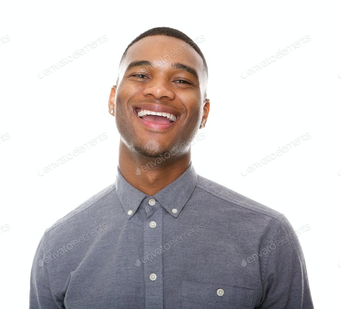 Happy black man laughing