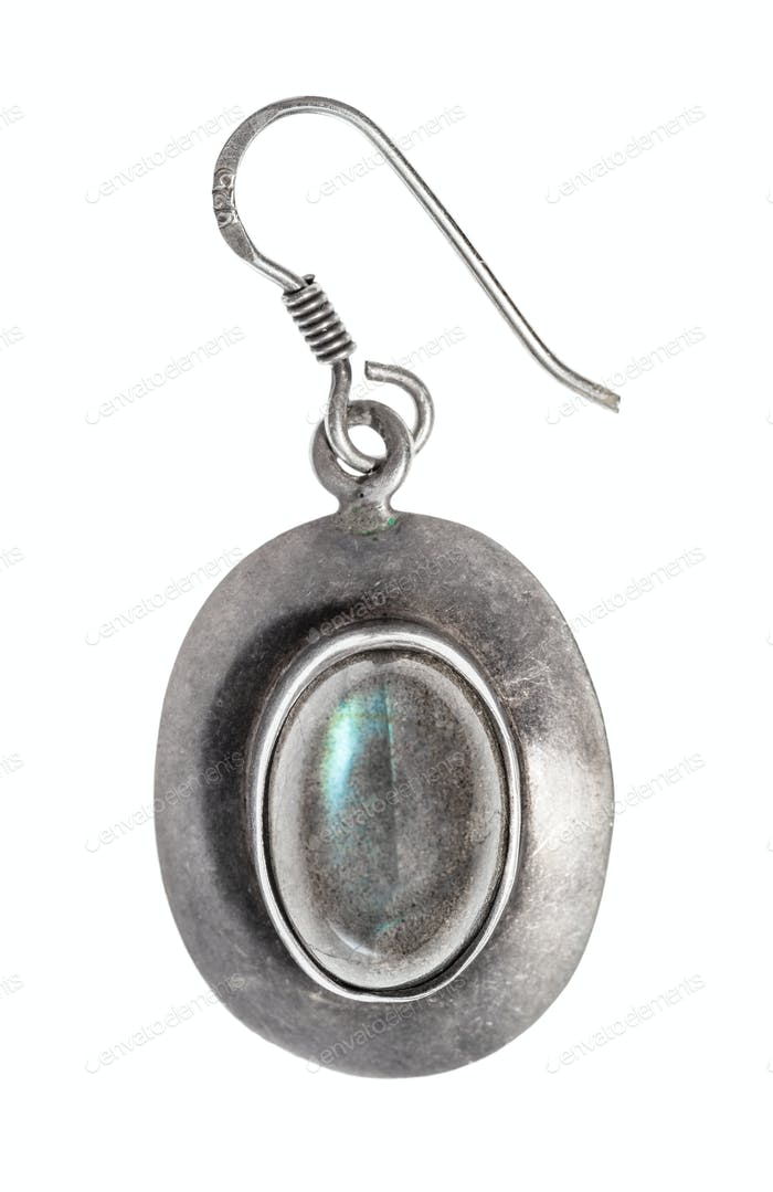 antique simple silver earring with labradorite gem