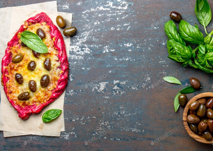 Beetroot Pizza with Feta and Olives