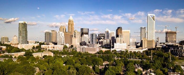 Aerial View Long Panoramic Shot of Charlotte North Carolina Downtown