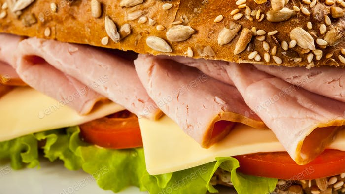 Ham sandwich close up
