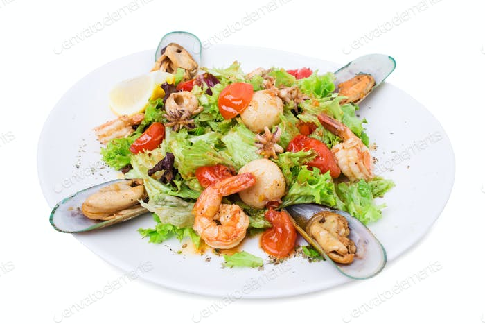 Delicious warm seafood salad.