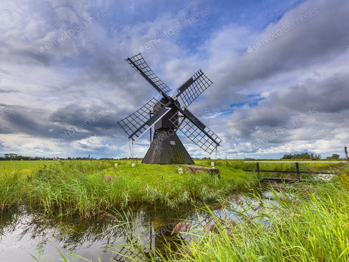 Historic Dutch Wooden Windmill