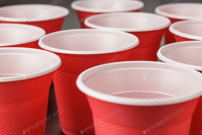 Red Plastic Cups On The Table