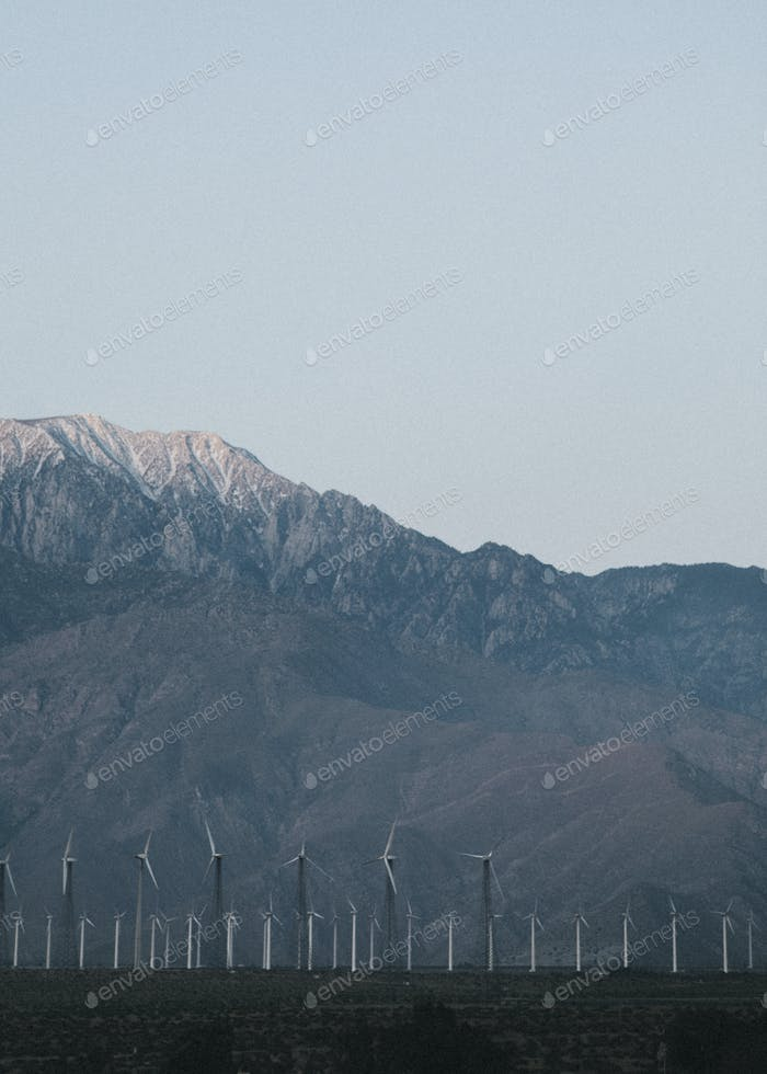 Wind turbines in the Palm Springs desert, USA