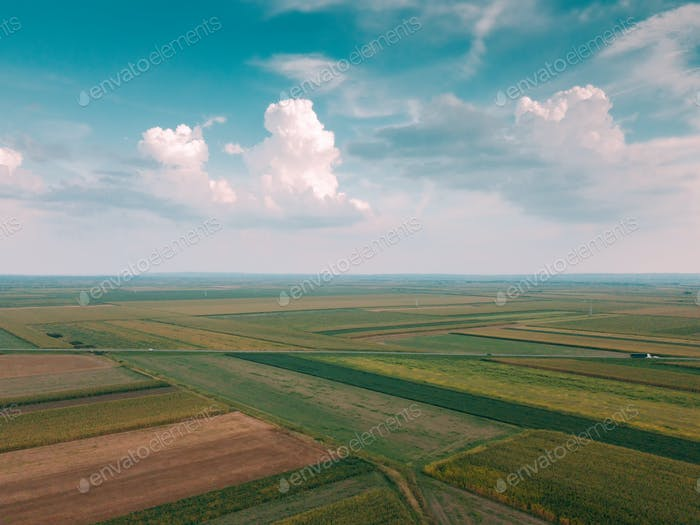 Beautiful idyllic aerial shot of countryside plain landscape