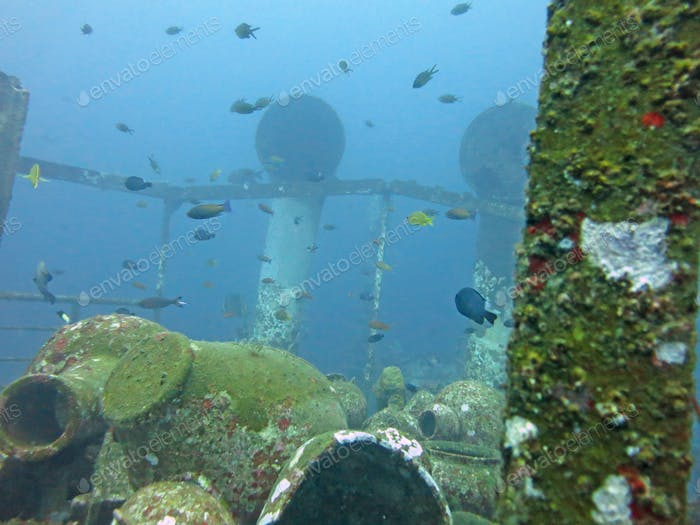 massive shipwreck, sits on a sandy seafloor in bali